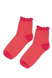 Topshop Scallop Tip Ankle Sock Pink