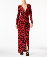 Thalia Sodi Printed High Low Maxi Dress Only At Macy's Lipstick Red Combo