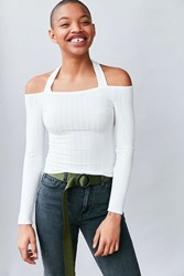 Silence And Noise Talia Off The Shoulder Halter Top White