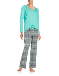 Hue Plaid Accented Pajama Top Pants And Socks Set Blue