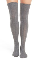 Natori Women's Ribbed Over The Knee Socks Medium Gray