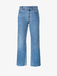 Re Done High Rise Jeans With Two Tone Detail Blue Sand Denim