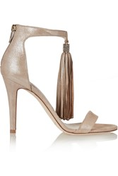 Jimmy Choo Viola Crystal Embellished Tasseled Suede Sandals