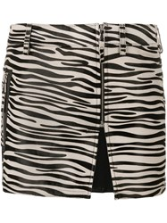 Filles A Papa Zebra Print Mini Skirt Black