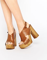 Park Lane Platform Cross Strap Leather Heeled Sandals Tan
