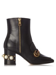 Gucci Peyton Faux Pearl Embellished Leather Boots Black Multi