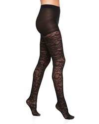 Neiman Marcus Floral Lace Pattern Tights Black
