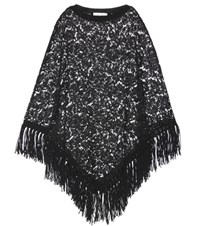 Valentino Fringed Lace Poncho Black
