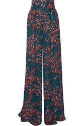 Johanna Ortiz Alfred The Great Printed Silk Chiffon Wide Leg Pants Petrol