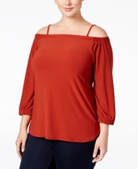 Inc International Concepts Plus Size Off The Shoulder Top Only At Macy's Burnt Pepper