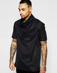 Asos Woven Tee With Cowl Neck In Black Black