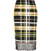 River Island Womens Yellow Checked Lace Hem Skirt