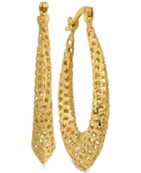 Macy's Puff Mesh Hoop Earrings In 10K Gold Yellow Gold