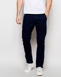 Solid Straight Fit Chinos Blue
