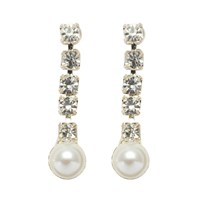John Lewis String Diamante And Faux Pearl Drop Earrings White