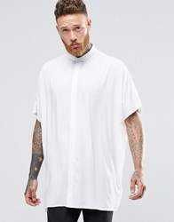 Asos Oversized Shirt With Dropped Shoulder In White And Short Sleeves White