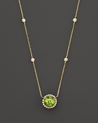 Bloomingdale's Peridot And Diamond Halo Pendant Necklace With 4 Stations In 14K Yellow Gold 16 Green Gold