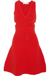 Cutout Ribbed Stretch Knit Dress Red