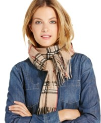 Charter Club Signature Plaid Cashmere Muffler Only At Macy's Heather Camel