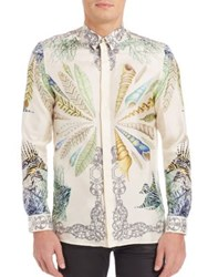 Versace Regular Fit Under The Sea Woven Dress Shirt White Multi