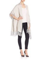 Bajra Leather Fringed Shawl White