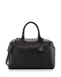 Large East West Woven Boston Bag Black Bottega Veneta