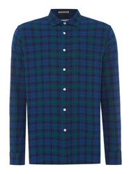 Howick Men's Clubhouse Brushed Oxford Check Long Sleeve Shirt Navy