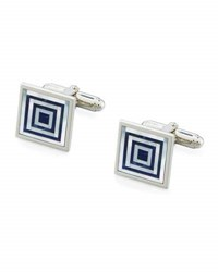 David Donahue Sodalite And Mother Of Pearl Concentric Square Cuff Links Silver