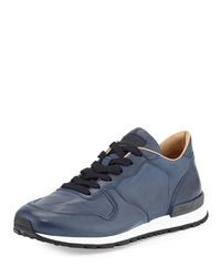 Runner Leather Sneaker Navy Blue Tod's