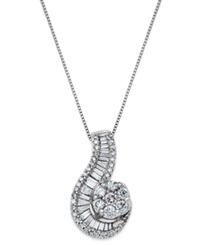 Macy's 14K White Gold Necklace Diamond 1 Ct. T.W. Cluster Swirl Pendant