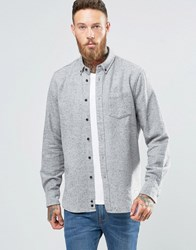 Penfield Ridgley Fleck Flannel Shirt Button In Regular Fit Brushed Cotton Grey