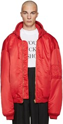 Vetements Red Oversized Bomber Jacket