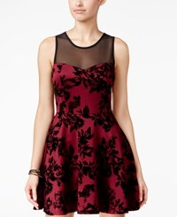 Trixxi Juniors' Illusion Textured Print Fit And Flare Dress Merlot