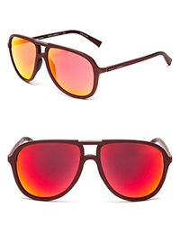Dolce And Gabbana Sport Inspired Mirrored Aviator Sunglasses Bourdeaux Red Multilayer