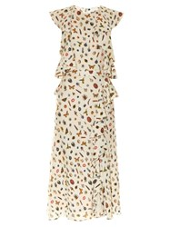 Alexander Mcqueen Obsession Print Ruffle Trimmed Crepe Dress Cream Multi