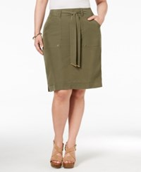 Inc International Concepts Plus Size Belted Cargo Skirt Only At Macy's Olive Drab