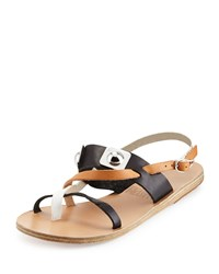 Ancient Greek Sandals Alethea Colorblock Leather Flat Sandal Natural Black White