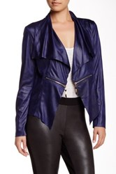 Insight Cracked Faux Leather Zip Jacket Blue