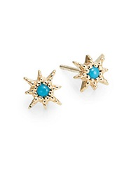 Anzie Aztec Turquoise And 14K Yellow Gold Stud Earrings Gold Turquoise