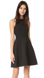 Yigal Azrouel Mechanical Stretch Eyelet Dress Jet