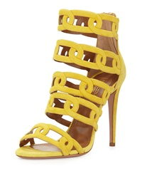Aquazzura Chain Me Up Open Toe Suede Bootie Yellow