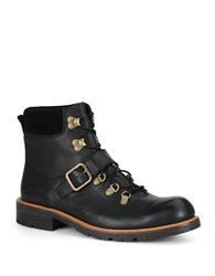 Andrew Marc New York Midiwood Leather Lace Up Buckle Boots Black