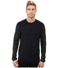 Calvin Klein Merino Acrylic Color Block Crew Neck Sweater W Rib Detail Lake Como Men's Sweater Black