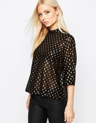 Ichi Brook Metallic Spot Top With High Neck Black