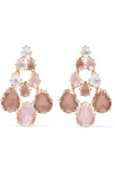 Larkspur And Hawk Catarina Chandelier Gold Dipped Quartz Earrings Gold Blush