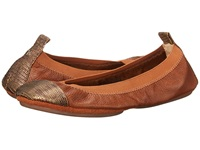Yosi Samra Samantha Tuscany Leather Fold Up Falt With Contrast Captoe Whiskey Bronze Women's Flat Shoes Brown
