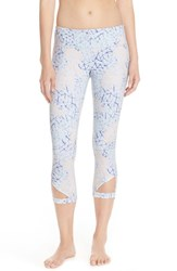 Zella Women's 'So Haute' Cutout Crop Leggings Blue Feather Constellation