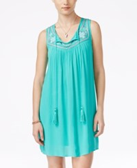As U Wish Juniors' Sleeveless Embroidered Shift Dress Turq Aqua