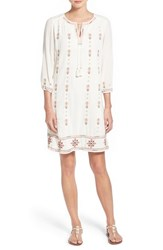 Women's Caslon Three Quarter Sleeve Embroidered Shift Dress Ivory Cloud Embroidery