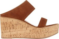Gianvito Rossi Double Band Platform Wedge Slides Nude Size 7.5